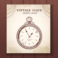 Old vintage pocket watch card