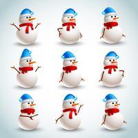 Conjunto de emociones de muñeco de nieve