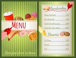 Menu de restauration rapide