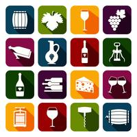 Wine icons set flat
