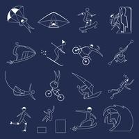 Extreme sports icons outline