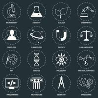 Science gebieden pictogrammen wit