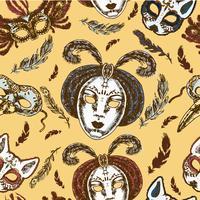 Máscaras de carnaval de patrones sin fisuras