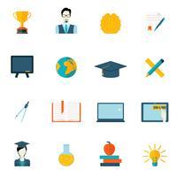 Utbildning ikoner platt