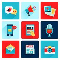 Ícones de mídia planas