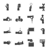Hand holding objects black set