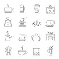 Coffee icons outline vector