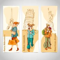 Urban people vertical banners sketch colored