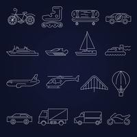 Transport icons outline set