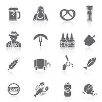 Beer icons set black
