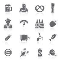 Conjunto de iconos de cerveza negro