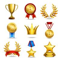 Conjunto de iconos de premio realista