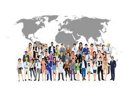 Grupp människor världskarta