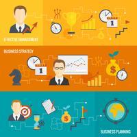 Conjunto de banners de planificación de estrategia de negocios