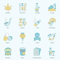 Linha plana de ícones de drogas