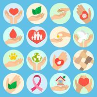 Iconos de caridad y donación.