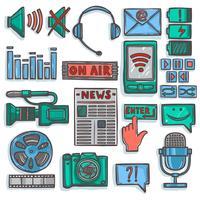Media sketch icons set color vector