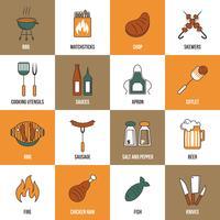 icônes de ligne barbecue