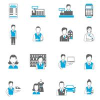 Set icons salesman flat
