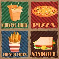 Tarjetas de menú de comida rápida.