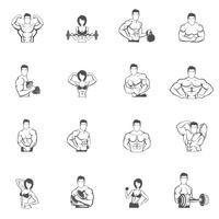 Bodybuilding fitness gym icons noir