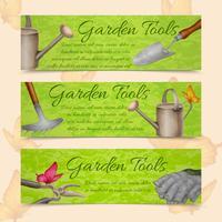 Banners horizontales herramientas de jardin vector