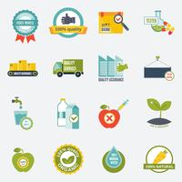 Quality control icons flat vector