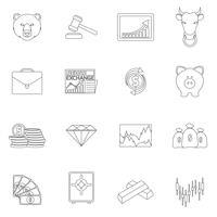 Ícones de contorno de troca de finanças