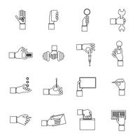 Hand holding objects outline set