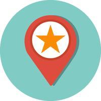 Ícone de localização com estrela de vetor