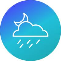 Night Rain Vector Icon