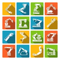 Robotic arm icons flat