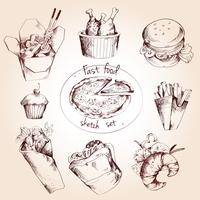 Fast food sketch set vector