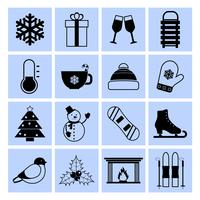 Winter icons set black and white vector