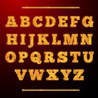 Alfabeto da luz da lâmpada