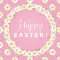 Happy easter card. Chamomile round frame on pink background