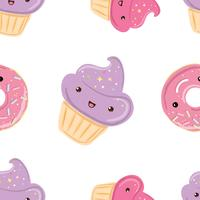 Seamless pattern with sweets - donuts, cupcakes isolated on white background.