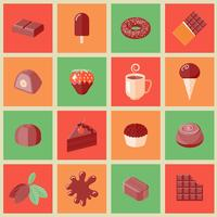 Iconos de chocolate planos