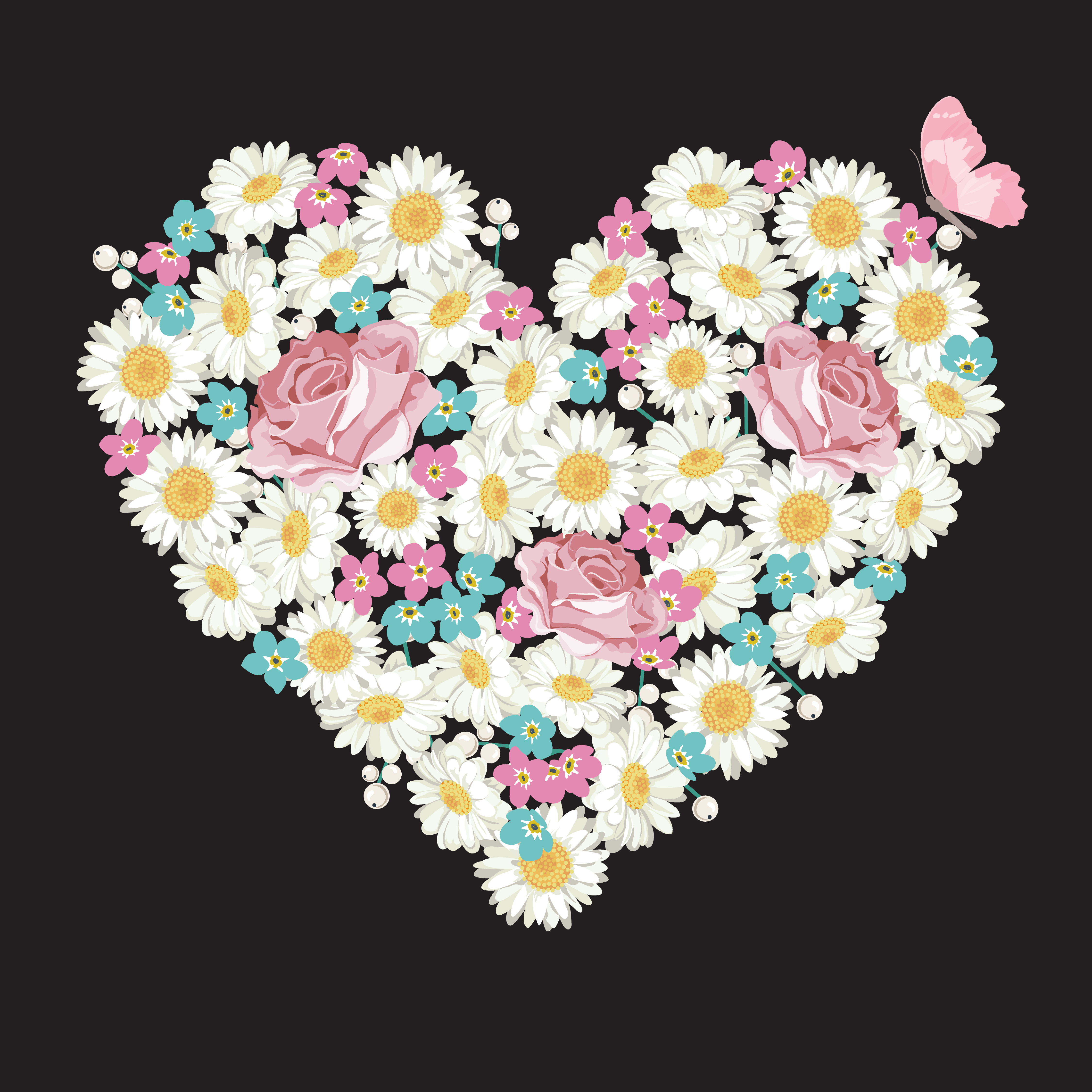 Heart Shape Roses Chamomile And Forget Me Not Flowers