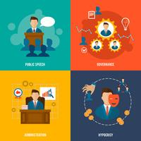 Executive icons flat vector