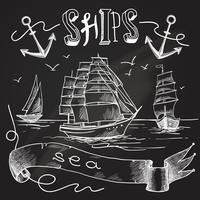 Ship chalkboard poster vector