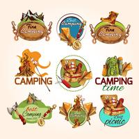 Camping sketch emblems