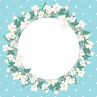 Cherry blossom round pattern on blue polka dot background vector