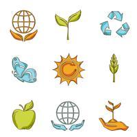 Conjunto de iconos de ecología y residuos bosquejo