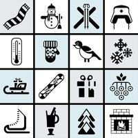 Winter icons set black