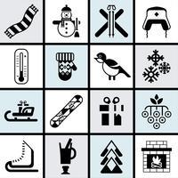 Conjunto de iconos de invierno negro