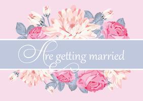 Plantilla de tarjeta floral con texto se van a casar.