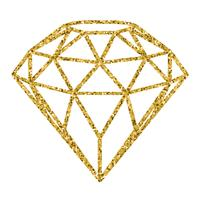Geometrical golden glitter diamond isolated on white background.