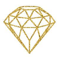 Diamante geometrico dorato di scintillio isolato su priorità bassa bianca.