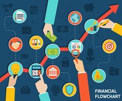 Fluxograma financeiro de mãos de negócios